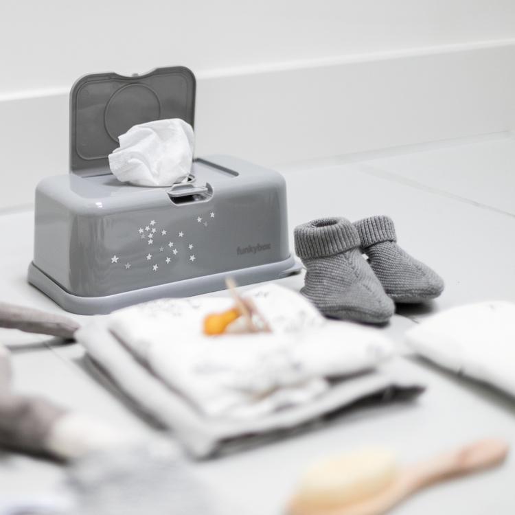 Funkybox förvaringsask för våtservetter Grey Little Stars