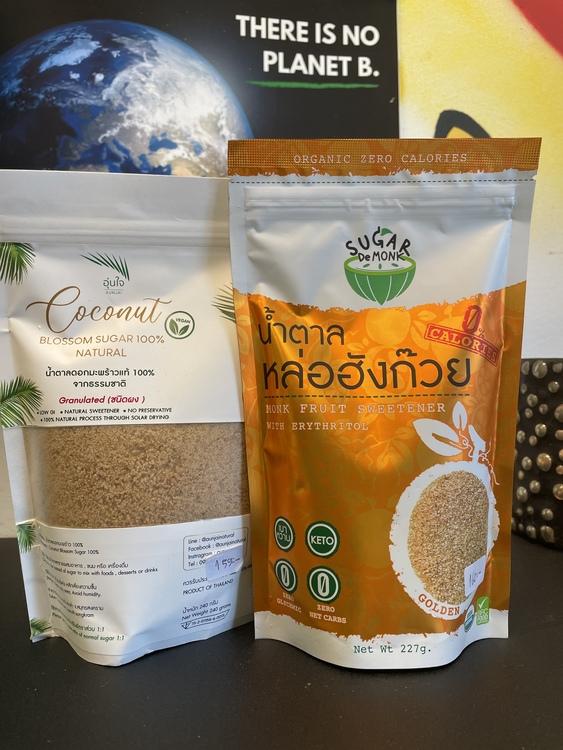 Aunjai - Coconut Blossom Sugar +Sugar De Monk - Monkfruit Sweetener ( Keto )