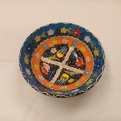 Keramik skål - ljusblå/orange 20 cm