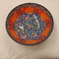 Keramik skål - Orange/blå 25 cm