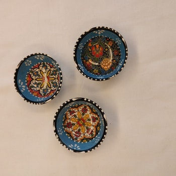 Keramik skål - Blå 8 cm