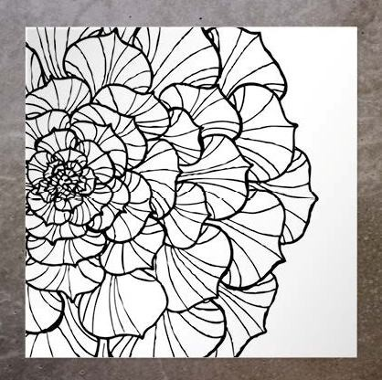 Kort Half Round Flower