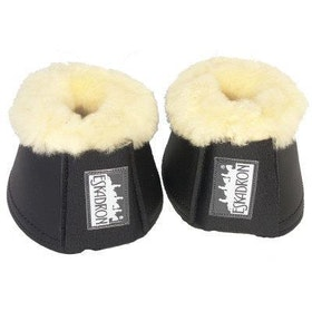 Boots i syntetisk läder med fårskinn svart