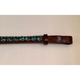 Döbert Pannband färg blue zircon/sten XL  brunt läder