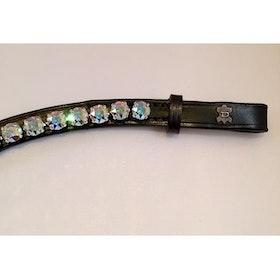 Pannband färg crystal aurore boreale/ sten XL läder svart