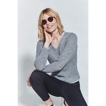 Harcour Nora V-ringad tröja grå