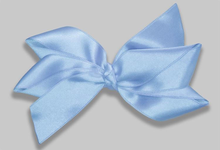 stor hårrosett i en ljusblå pastellfärg av satinband OEKO-TEX godkänd