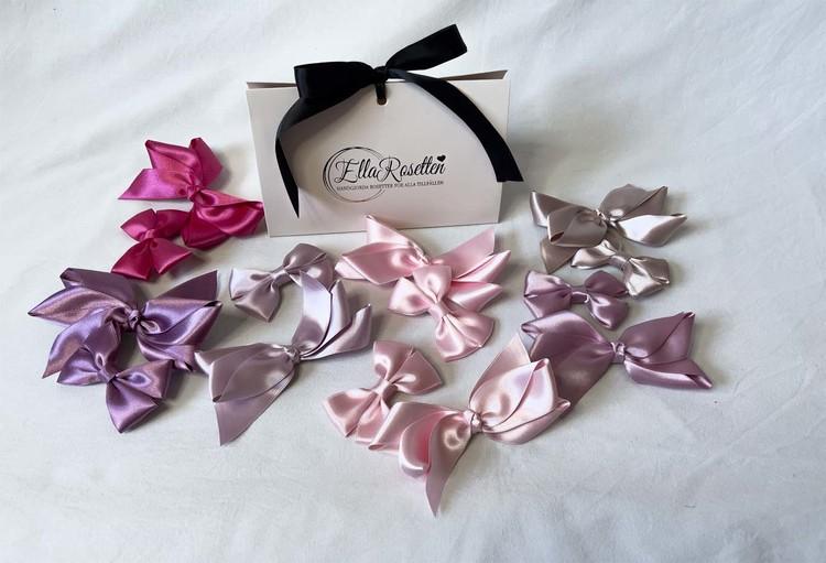 Perfekt rosa rosettpaket, rosetter till håret, för alla tillfällen och till både barn, baby och vuxen.