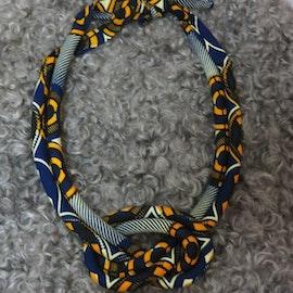 Dubbelt halsband med knut, blå/orange