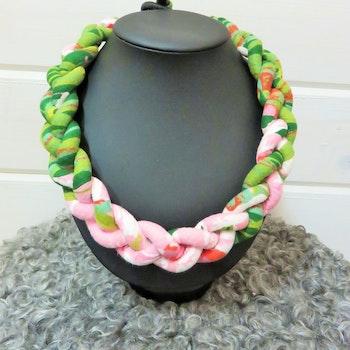 Flätat halsband, rosa/grön