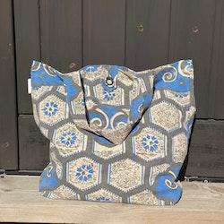 Kasse i afrikanskt tyg, blå