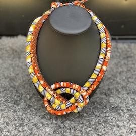 Dubbelt halsband med knut Orange/gul