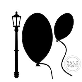 Textildekoration - Ballonger och gatlykta - 01