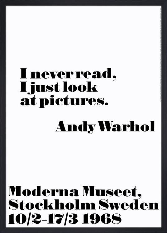 Poster Andy Warhol - I never read