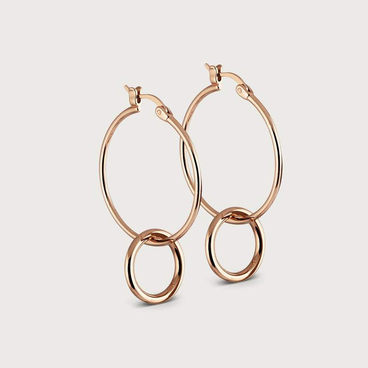 Double hoops øreringe guldbelagt