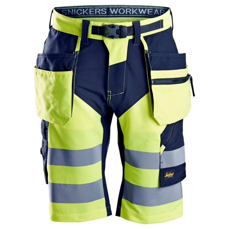Snickers Workwear FlexiWork, Varselshorts Gul/Marin 6933