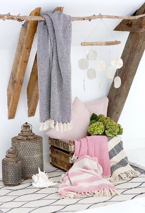 Cozy Room - Pläd Rosa Randig 125x150
