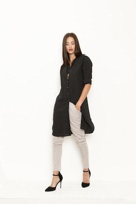 Vintage by fe - Lidette Long Shirt Black Dobby