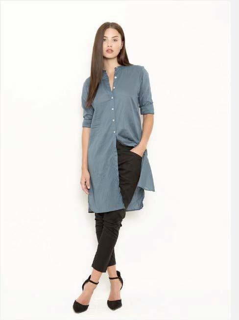Vintage by fe - Lidette Long Shirt Moon Blue Dobby