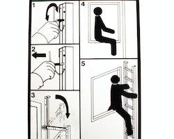 Instruktionsskylt fällbar utrymningsstege