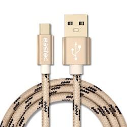 Bastec USB Type-C 200cm GULD