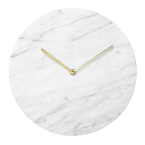 Marble wall clock, white