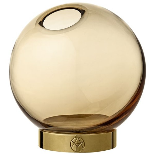 GLOBE vase w. stand Amber / Gold - Medium