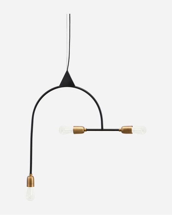 LAMP, ARCH, BLACK/BRASS PLATED