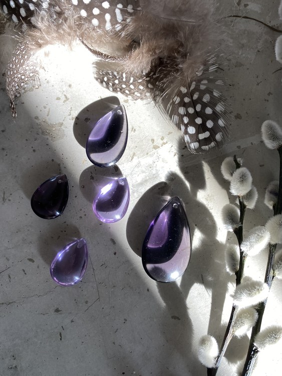 Purple Rain - glass dropps - set of 5