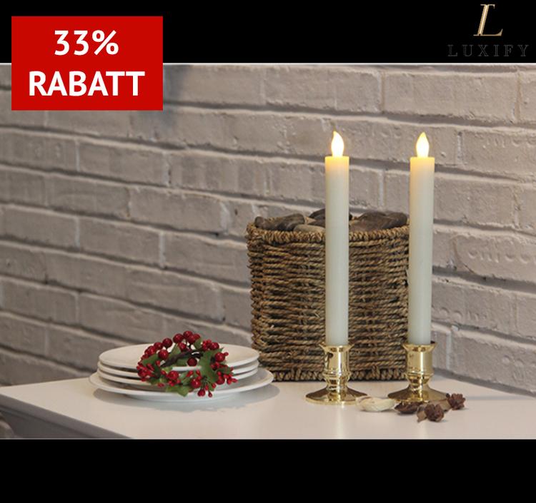 2-pack Kronljus i vax med LED-lampa - Säkert och mysigt i vinter