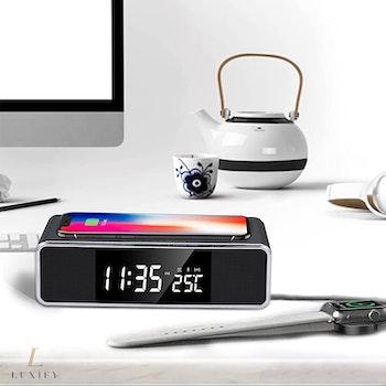 2021 Digital väckarklocka med trådlös laddare & radio & bluetooth-högtalare