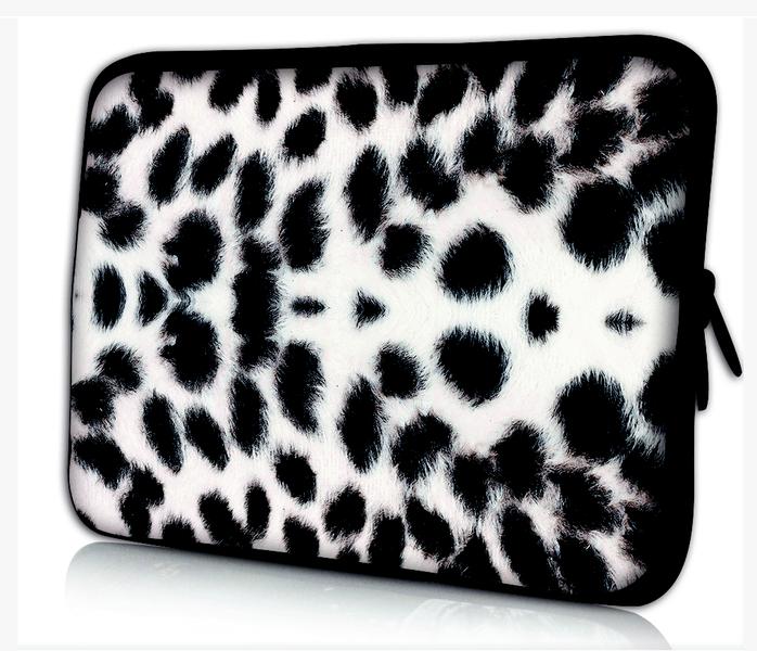 Datorfodral - Leopardskinn, svart/vitt