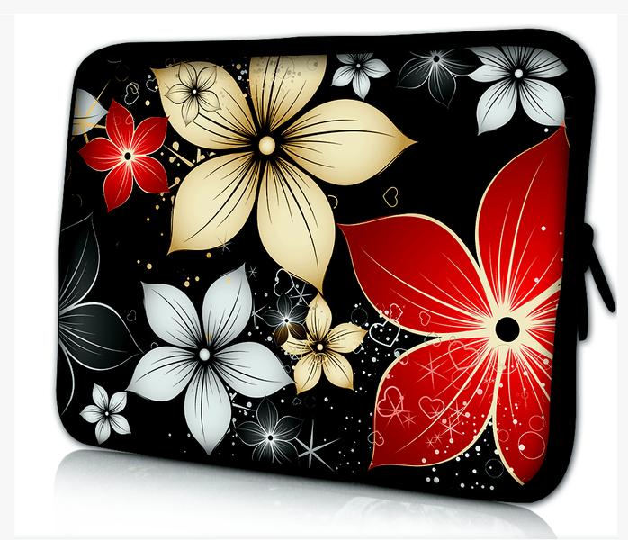 Datorfodral - Färgglada Blommor Svart