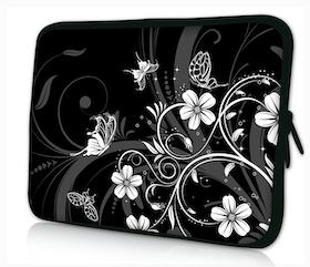 Datorfodral - Flowers, svart/vit