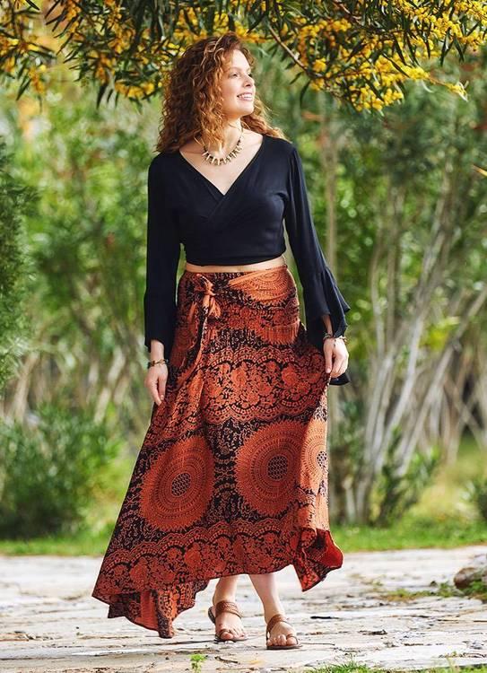 Bohemisk asymmetrisk kjol, Orange