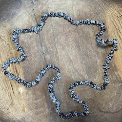 Halsband Snöflingeobsidian