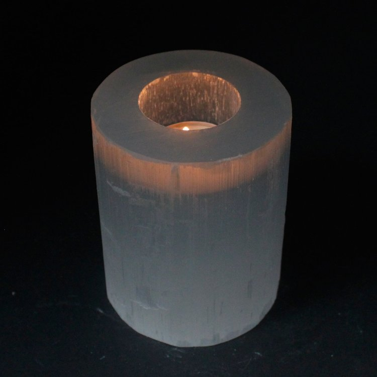 Ljuslykta Selenit Cylinder 10 cm