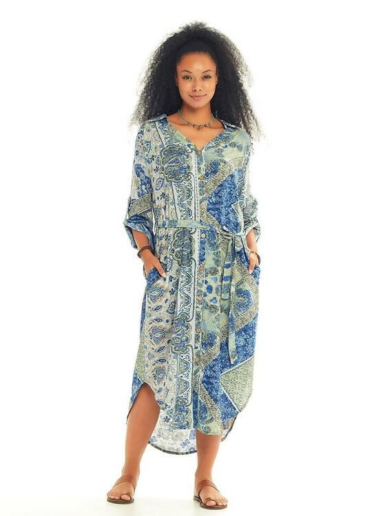 Skjortklänning Blåmönstrad