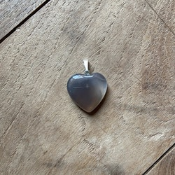 Hänge Agat Grå (hjärta)