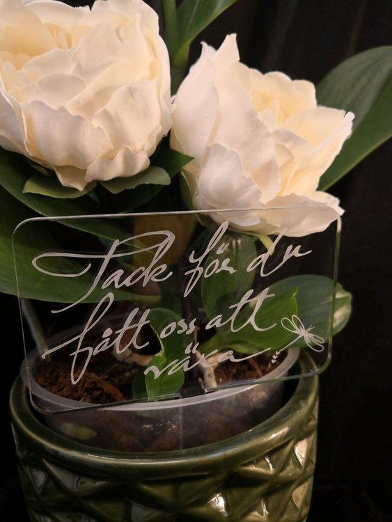 Blomskylt till Fröken
