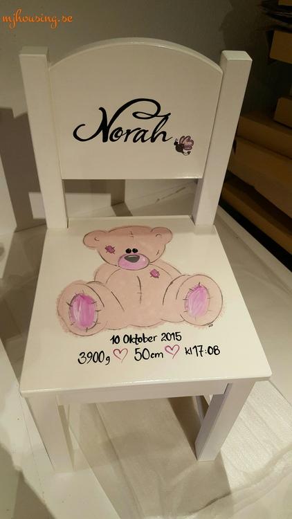 Handmålad Barnstol med 1 figur