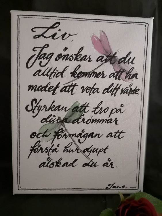 Handmålad & Handtextad Canvas