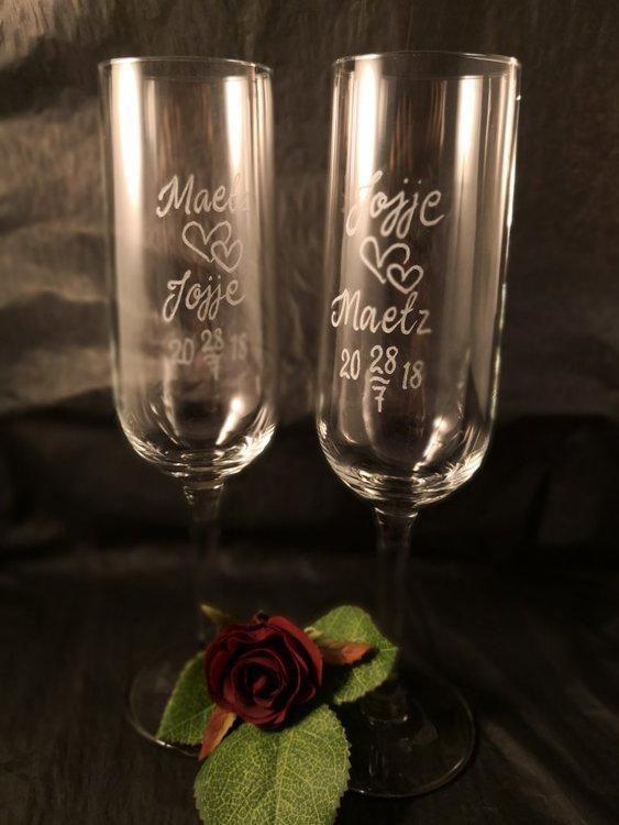 Graverat Champagneglas Elegant