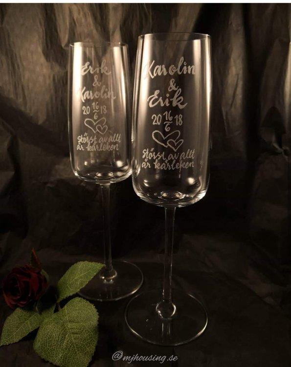 Graverat Champagneglas Kristall