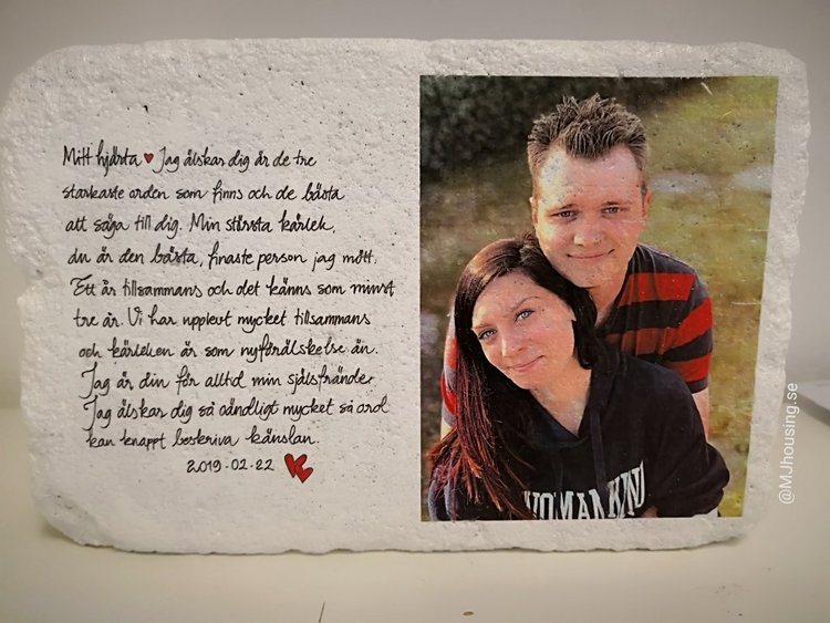 Handtextad sten med Foto