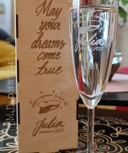 Champagneglas med Trälåda