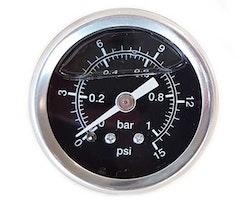 Bränsletrycksmätare 0-1 bar svart (förgasare)