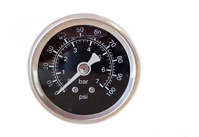 Bränsletrycksmätare 0-7 bar svart