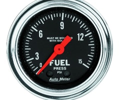"Autometer 2 1/16"" Bränsletrycksmätare / 0-15 PSI"