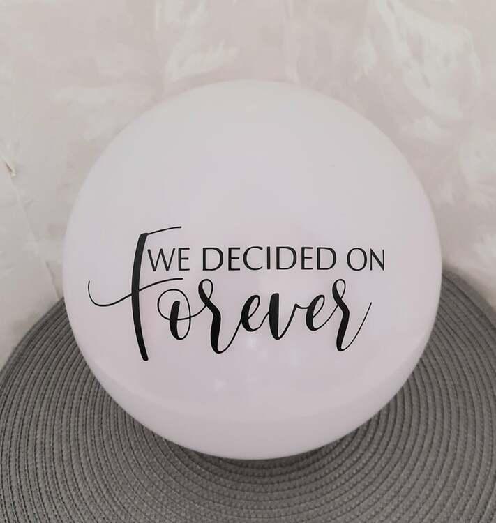 """""""we decided on forever"""" vinyltryck 15x35 cm"""
